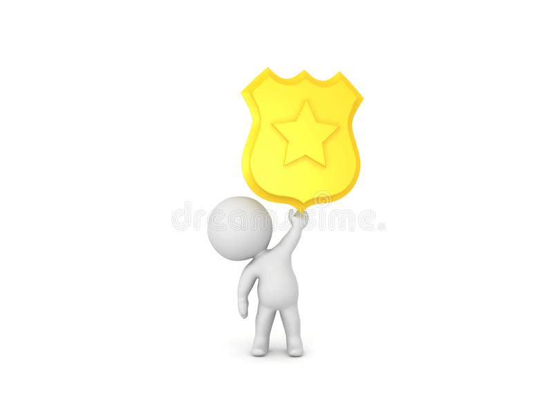 3D Character holding up police badge royalty free illustration