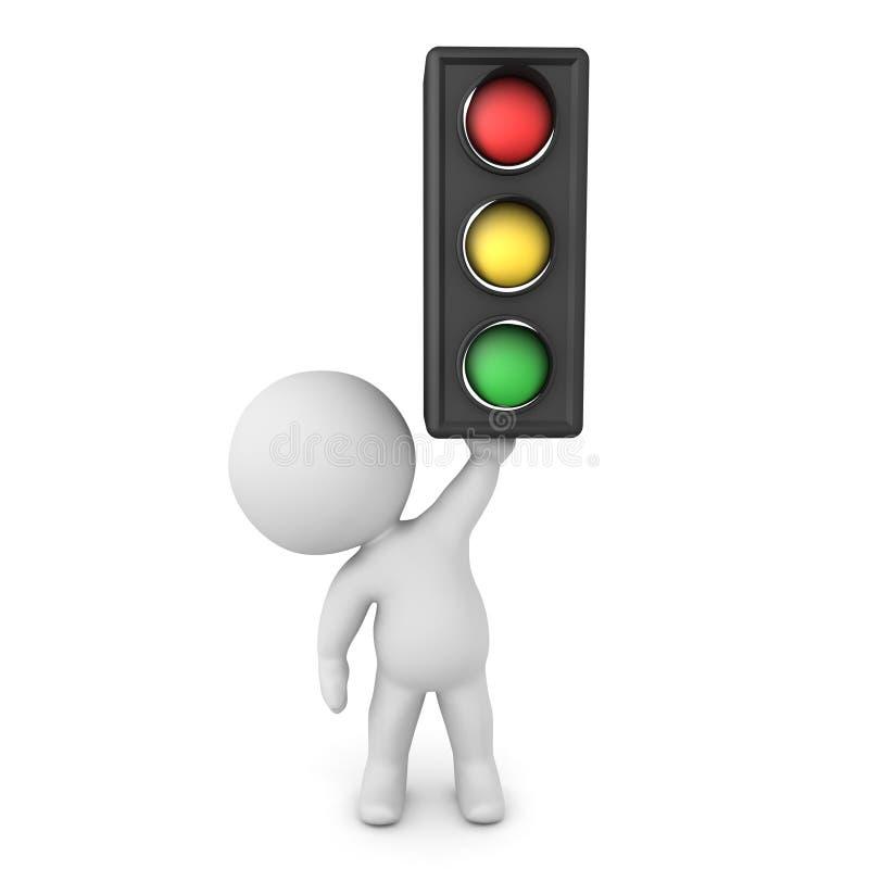 3D Character holding up traffic light. 3D Rendering isolated on white stock illustration