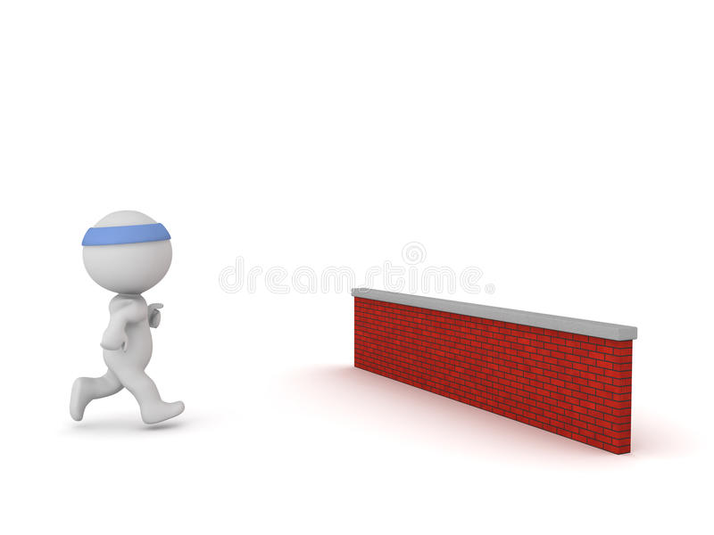 3D Character Jogging with a Brick Wall in Front. 3D character is jogging toward a red brick wall. Isolated on white background royalty free illustration