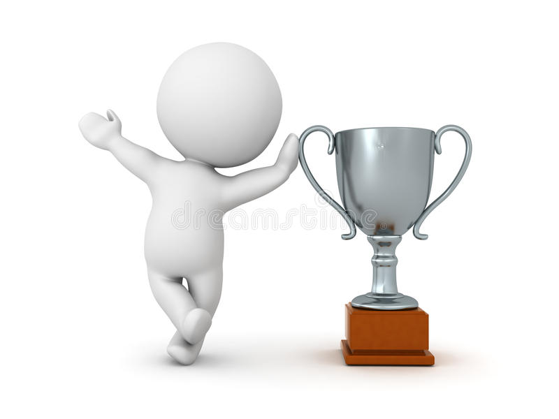 3D Character leaning on silver metallic trophy stock illustration