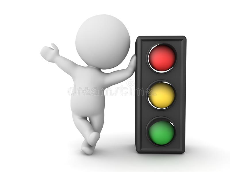 3D Character leaning on traffic light. 3D Rendering isolated on white stock illustration