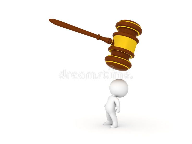 3D Character looking above himself at giant wooden gavel vector illustration