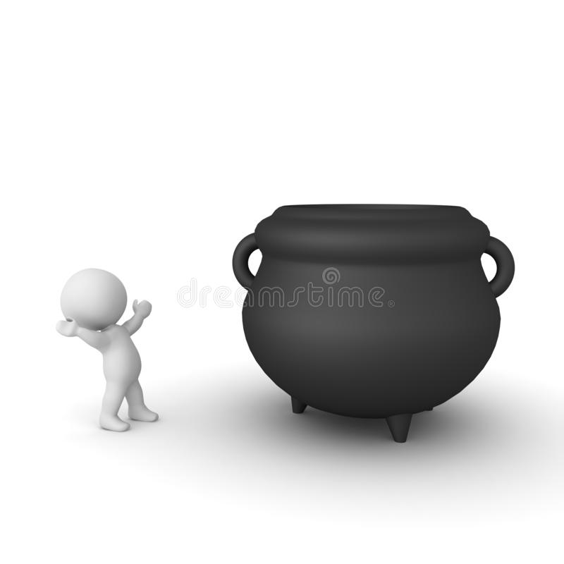 3D Character looking in awe at big cauldron. 3D Rendering isolated on white stock illustration