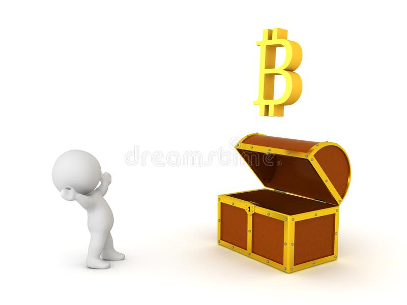 3D Character looking in awe at bitcoin coming out treasure chest. Isolated on white royalty free illustration