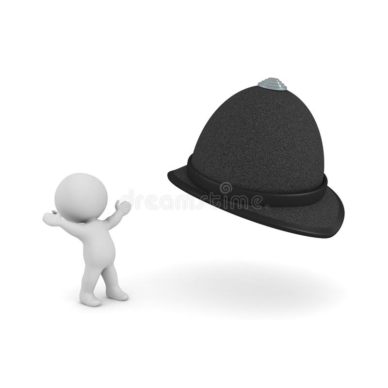 3D Character looking in awe at constable hat. 3D rendering isolated on white stock illustration