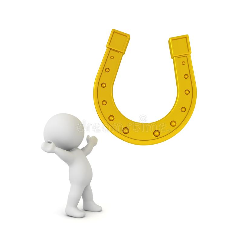 3D Character looking in awe at golden lucky horseshoe. 3D Rendering isolated on white vector illustration