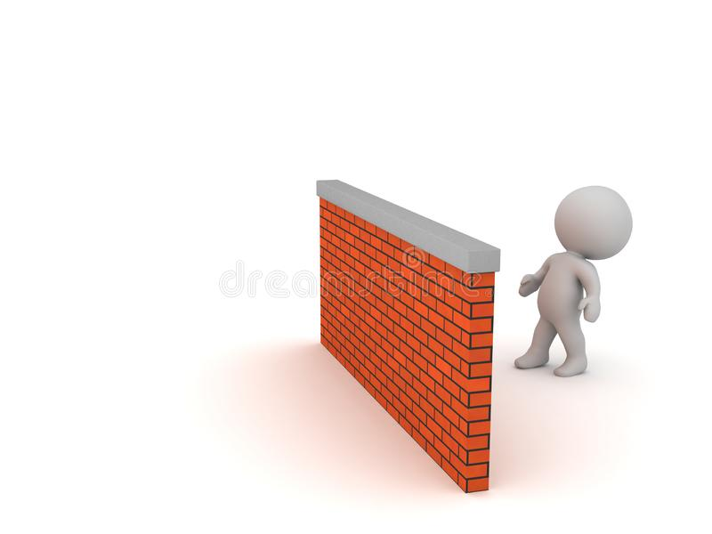 3D Character Looking Over Brick Wall. A 3D character looking over a brick wall. Isolated on white background stock illustration