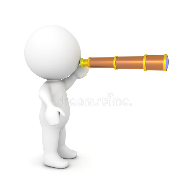 3D Character looking through spyglass. 3D rendering isolated on white stock illustration