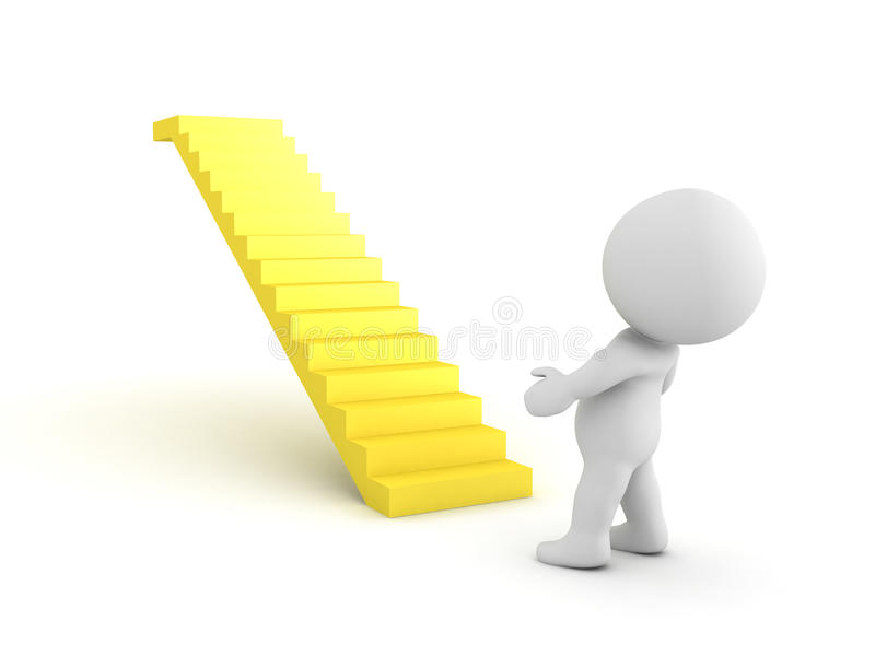 3D Character looking up in awe at golden staircase. On white vector illustration