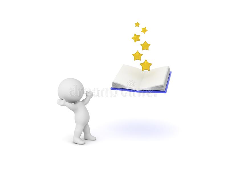 3D Character looking up in awe at open book with stars coming out of it. Isolated on white vector illustration