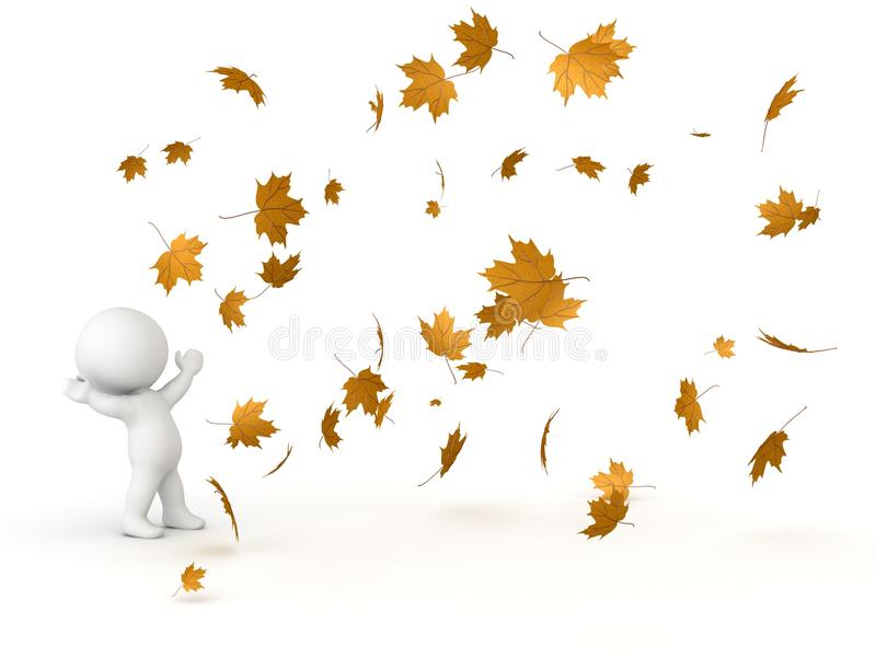 3D Character Looking up at falling Autumn Leaves vector illustration