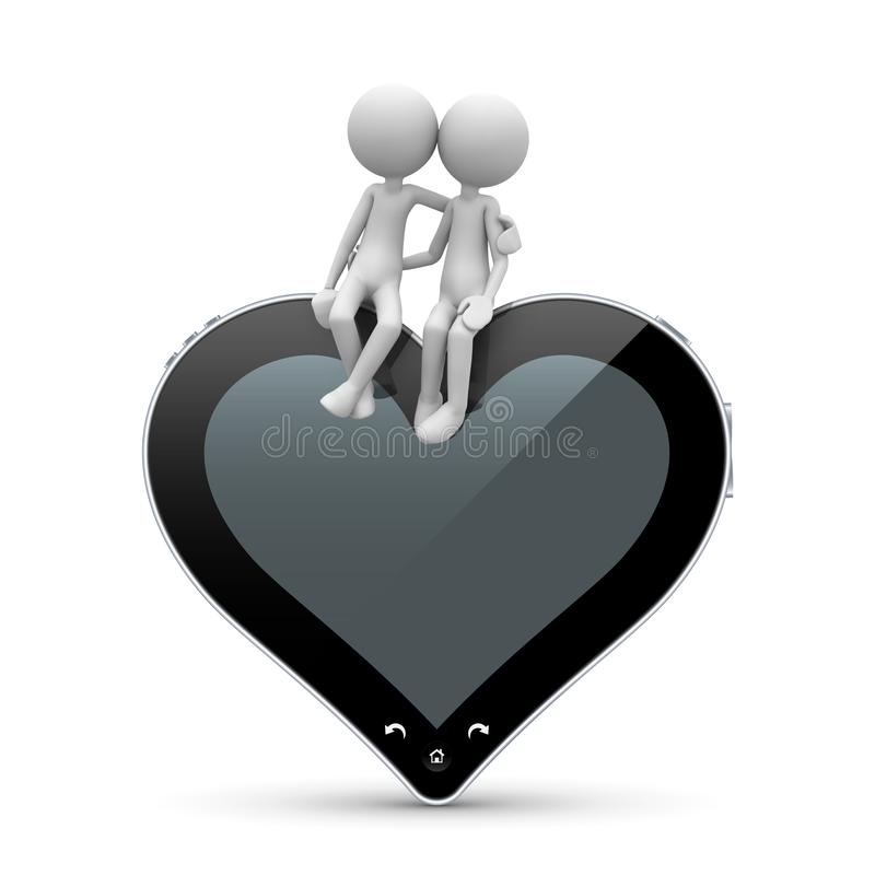 3D Character in Love sitting on Heart Shaped Tablet PC royalty free stock images