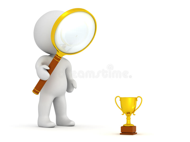 3D Character with Magnifying Glass Looking at Very Small Golden vector illustration