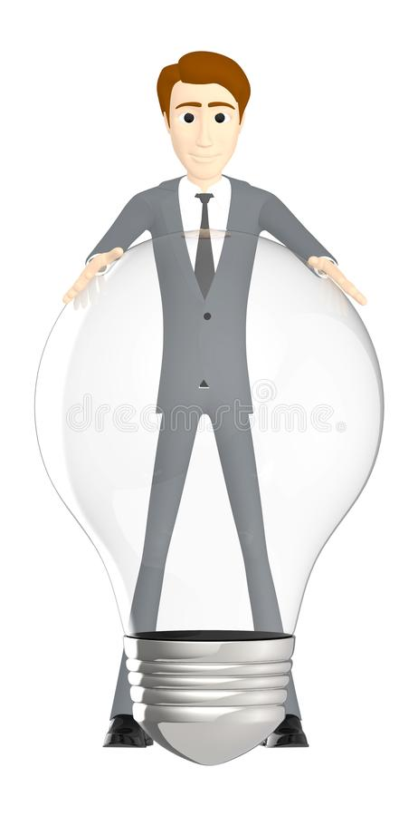 3d character , man with a bulb stock illustration