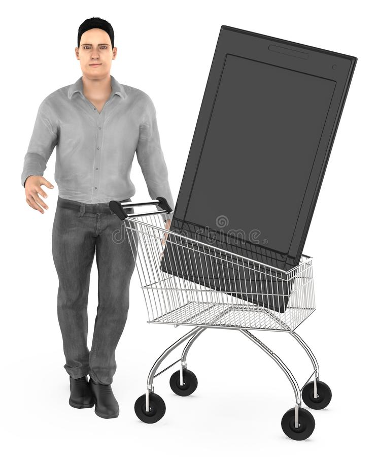 3d character , man cart with a smartphone. 3d rendering stock illustration