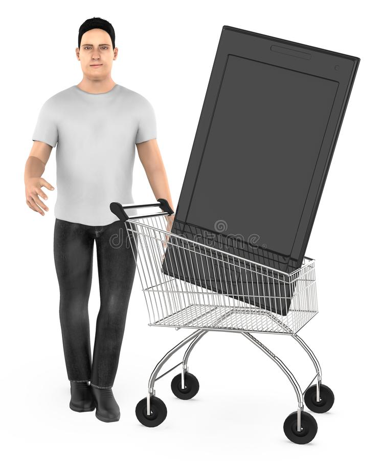 3d character , man cart with a smartphone. 3d rendering royalty free illustration