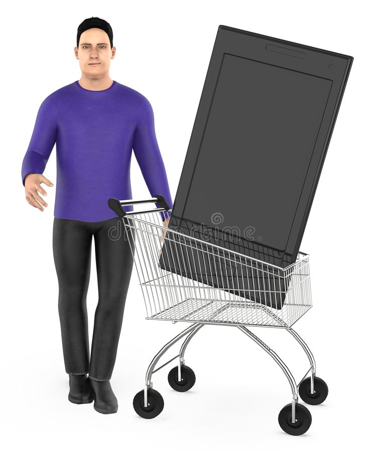 3d character , man cart with a smartphone. 3d rendering vector illustration