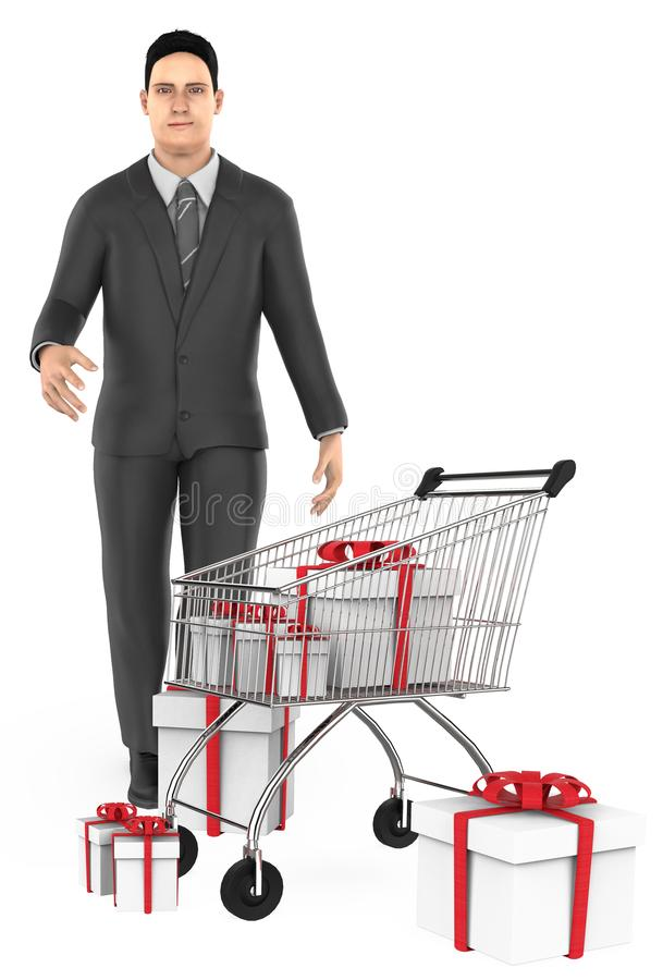3d character , man , cart and wrapped gift boxes. 3d rendering stock illustration