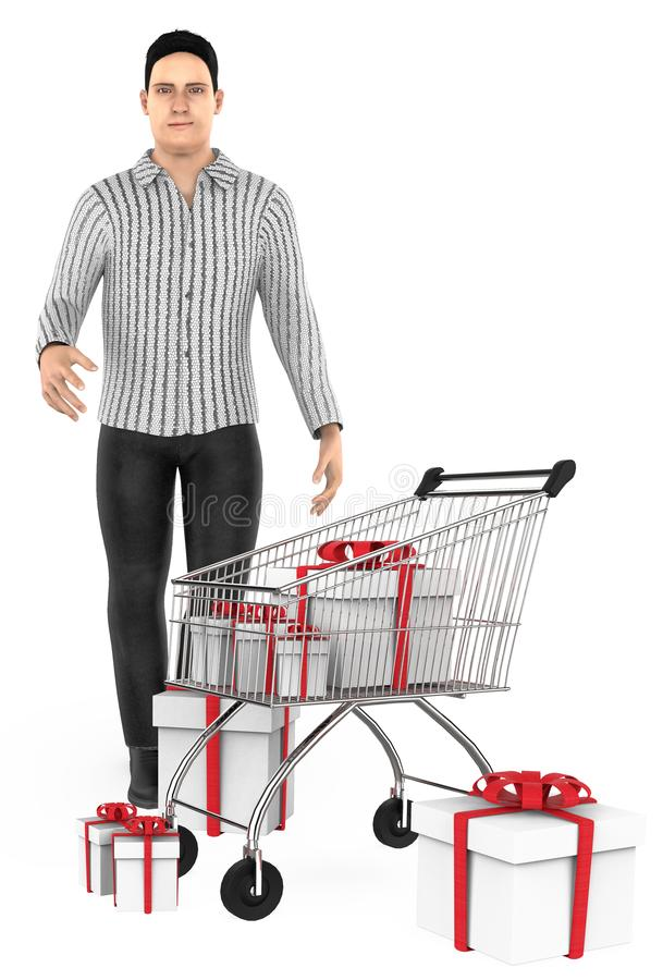 3d character , man , cart and wrapped gift boxes. 3d rendering vector illustration