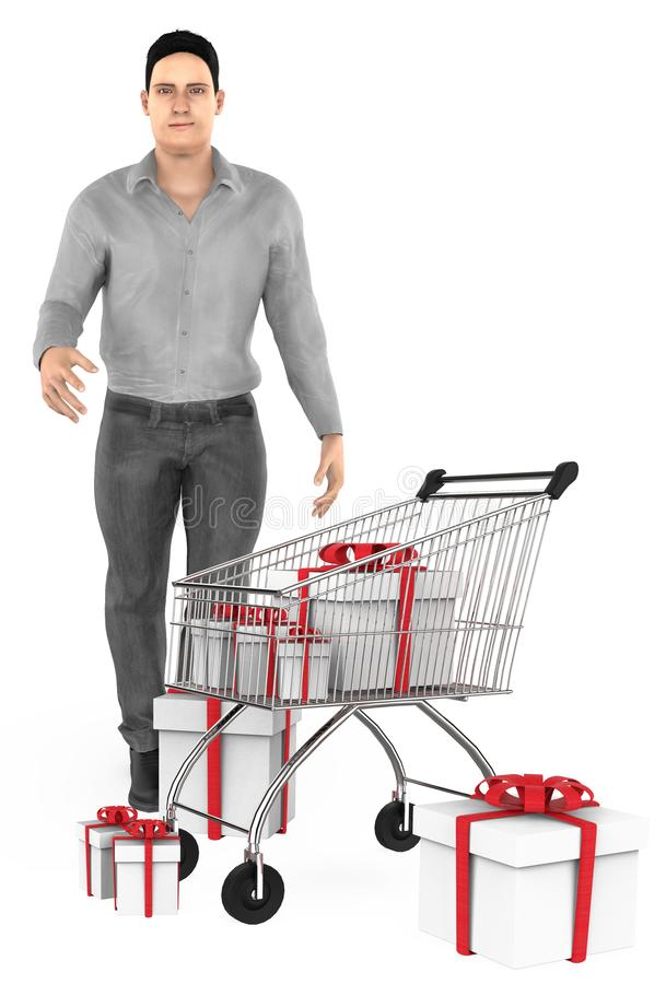 3d character , man , cart and wrapped gift boxes. 3d rendering royalty free illustration