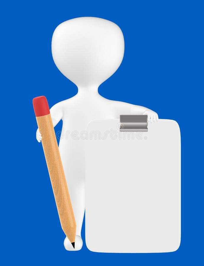 3d character , man with clipboard and pencil. Blue background - 3d rendering royalty free illustration