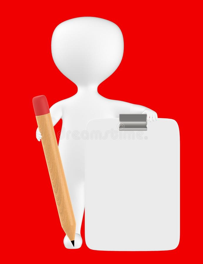 3d character , man with clipboard and pencil. Red background - 3d rendering vector illustration