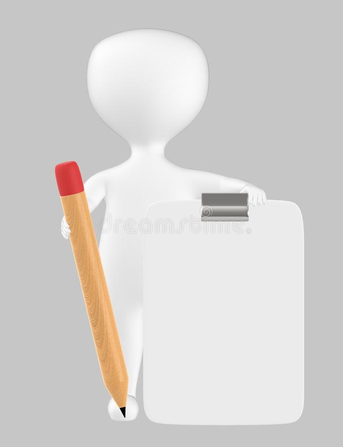 3d character , man with clipboard and pencil. Grey background - 3d rendering royalty free illustration