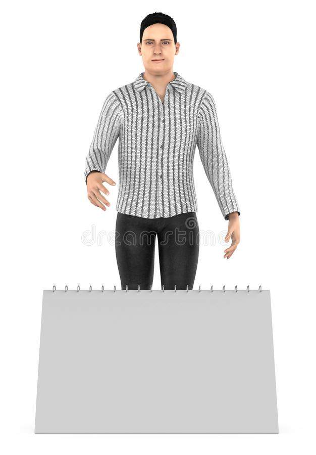 3d character , man and a empty calender / notepad. 3d rendering stock illustration