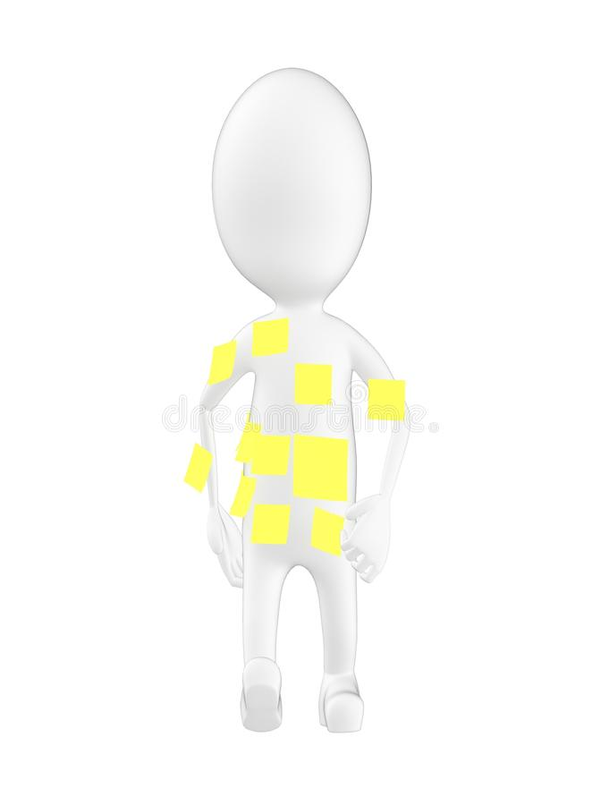 3d character , man empty stick notes in his body royalty free illustration