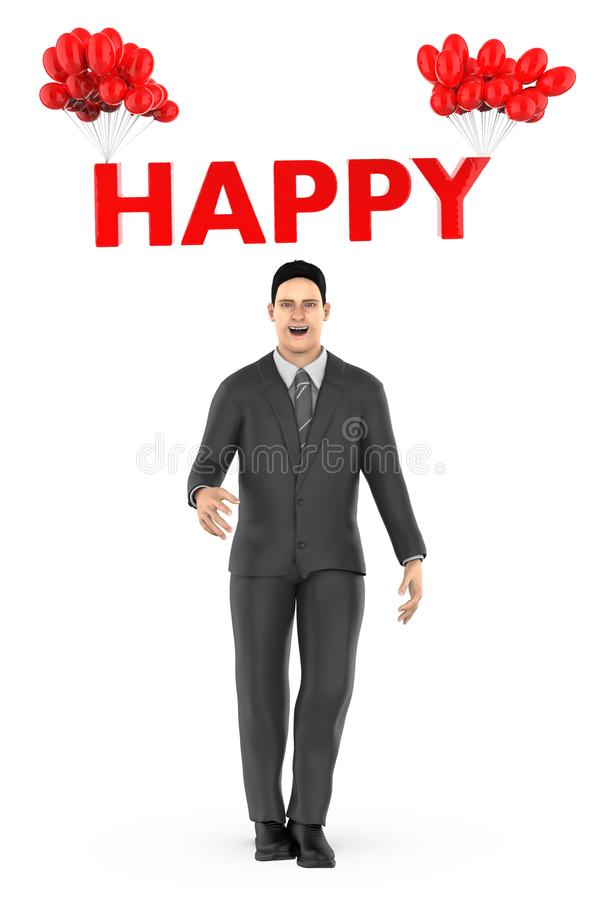 3d character , man and happy text tied to a bunch of balloons. 3d rendering royalty free illustration