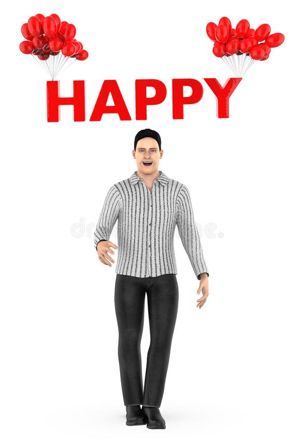 3d character , man and happy text tied to a bunch of balloons. 3d rendering stock illustration