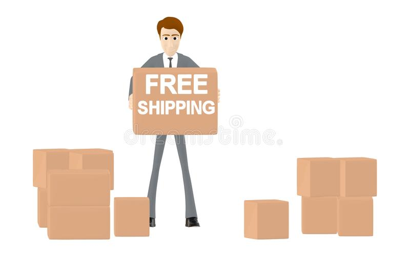 3d character , man holding free shipping cardboard in hands , other cardboard boxes in ground vector illustration