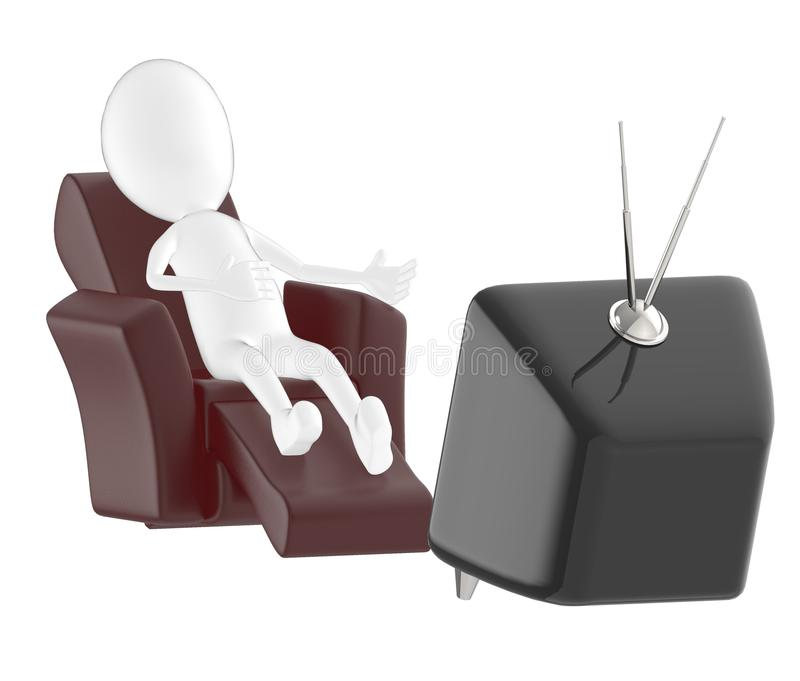 3d character , man lying on sofa and watching television stock illustration