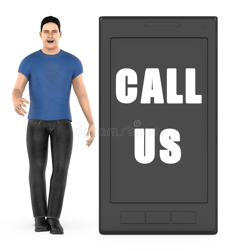 3d character , man , mobilephone with call us text. 3d rendering vector illustration