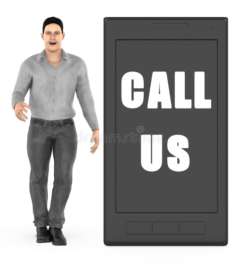 3d character , man , mobilephone with call us text. 3d rendering stock illustration