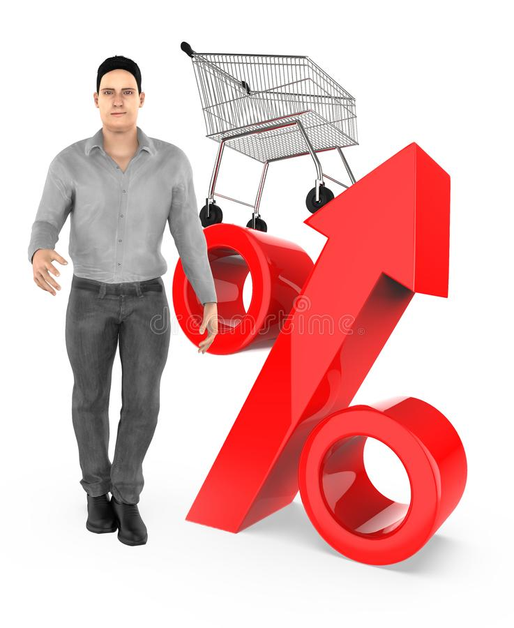 3d character , man , percetage sign and trolley. 3d rendering stock illustration