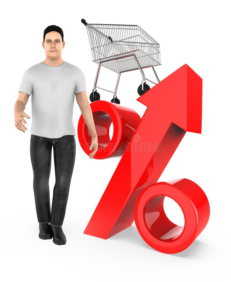 3d character , man , percetage sign and trolley. 3d rendering royalty free illustration