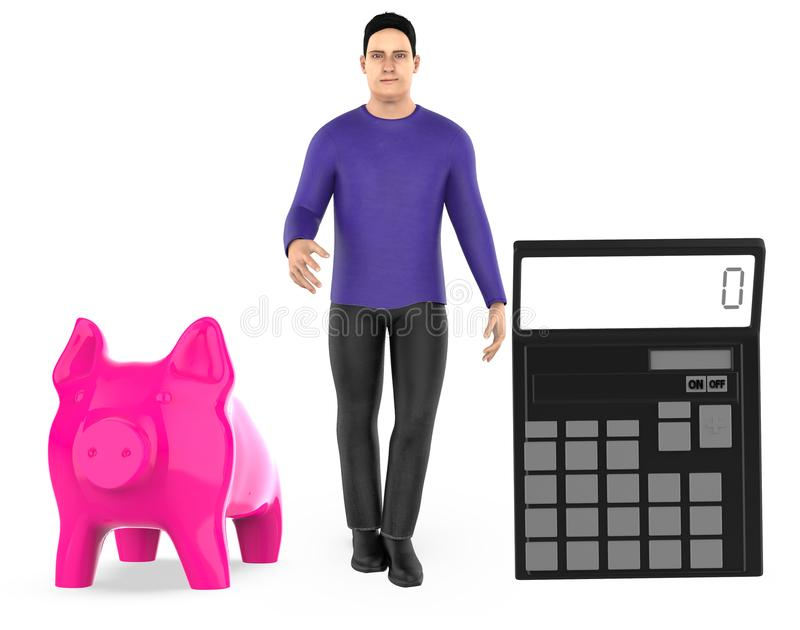 3d character ,man , piggy bank and a calculator royalty free illustration