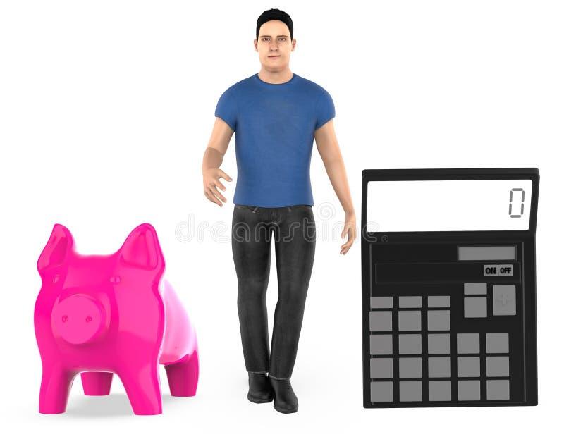 3d character ,man , piggy bank and a calculator vector illustration