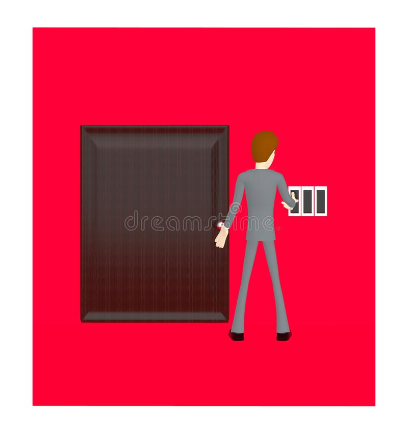 3d character , man pressing login button in a closed doorway stock illustration