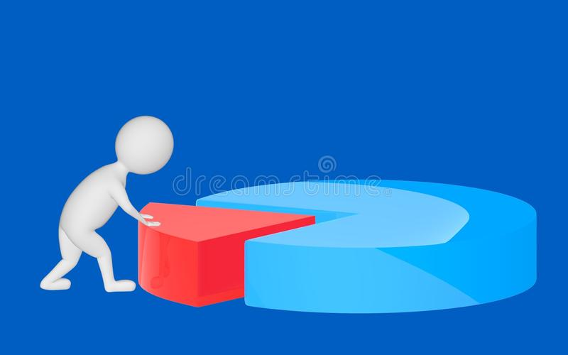 3d character , man pushing a part in a pie chart. Blue background - 3d rendering vector illustration