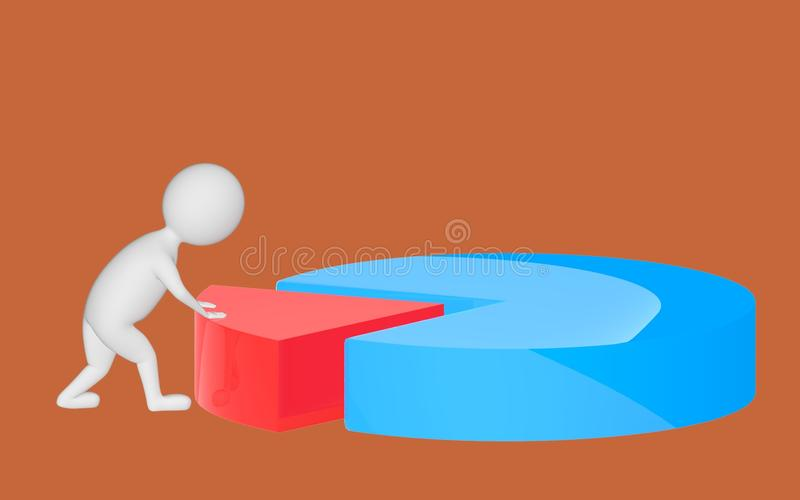 3d character , man pushing a part in a pie chart. Brown background - 3d rendering vector illustration