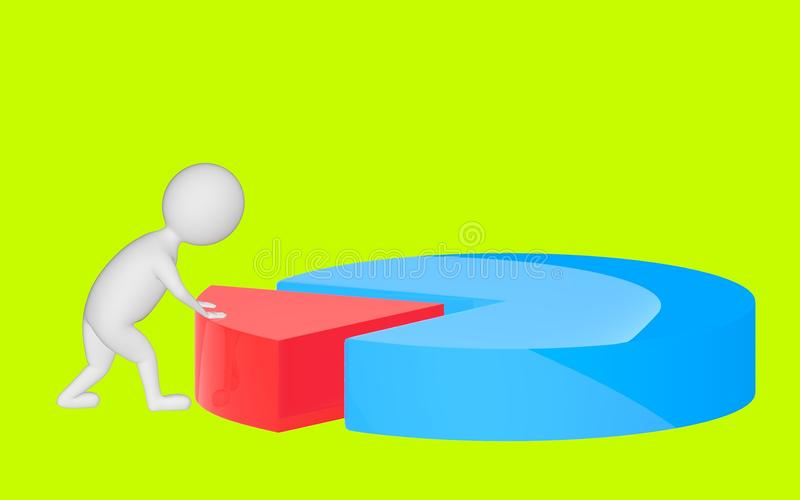 3d character , man pushing a part in a pie chart. Green background - 3d rendering stock illustration