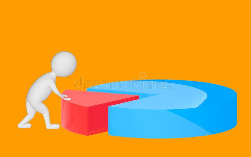 3d character , man pushing a part in a pie chart. Orange background - 3d rendering royalty free illustration