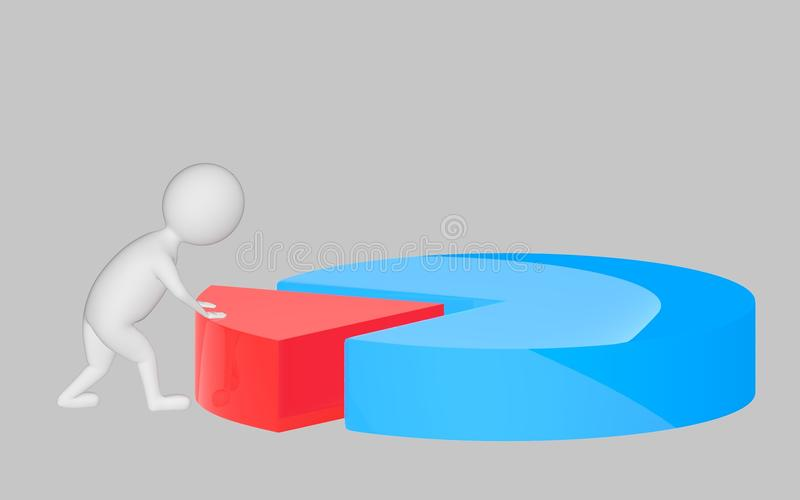 3d character , man pushing a part in a pie chart. Grey background - 3d rendering stock illustration