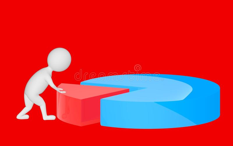 3d character , man pushing a part in a pie chart. Red background - 3d rendering stock illustration