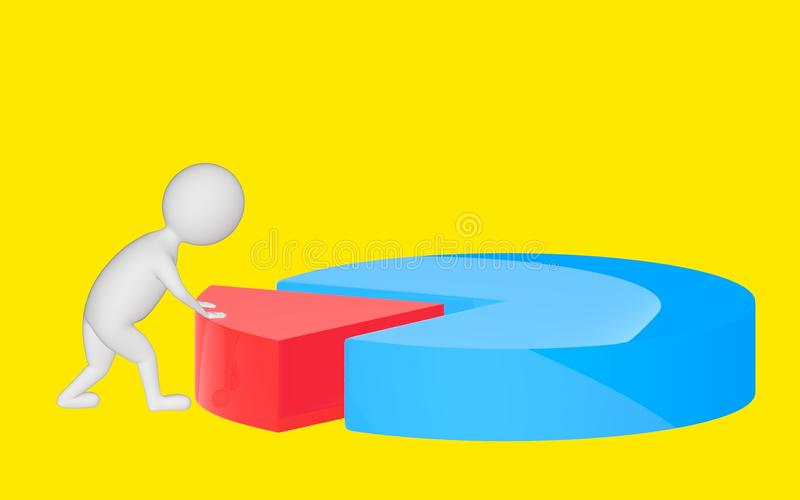 3d character , man pushing a part in a pie chart. Yellow background - 3d rendering royalty free illustration