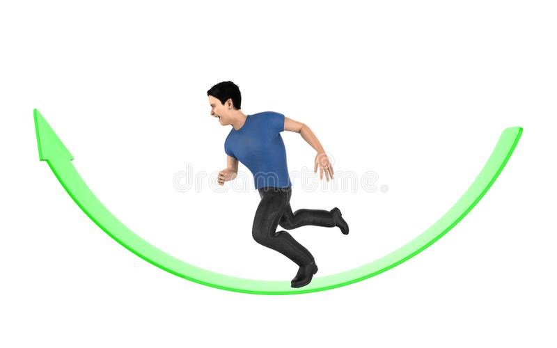 3d character , man running over an arrow. 3d rendering royalty free illustration