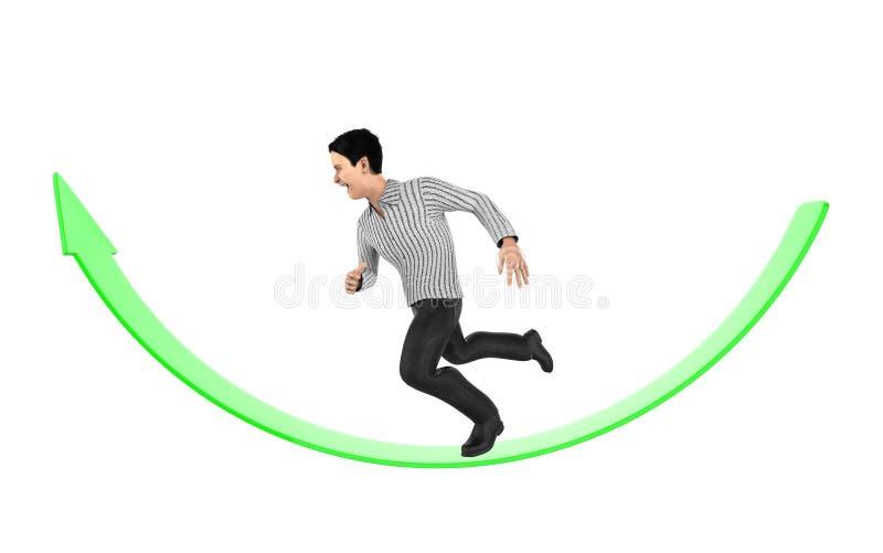 3d character , man running over an arrow. 3d rendering vector illustration