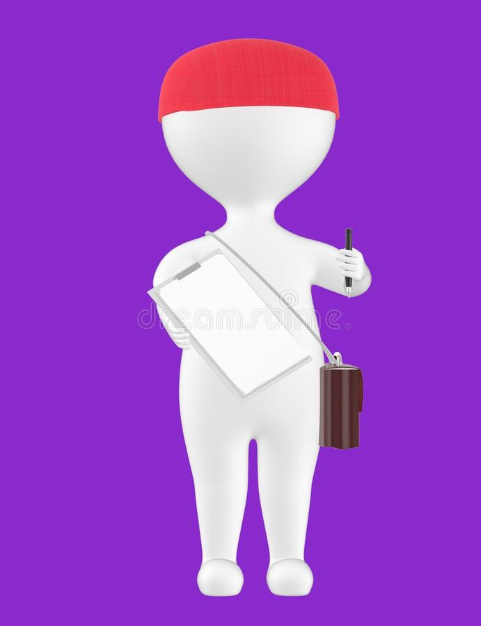 3d character , man showing a pen and clipboard. Purple background - 3d rendering royalty free illustration